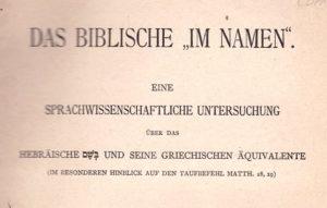 Das Biblische Im Namen