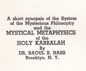 Holy Kabbalah by R. Nass